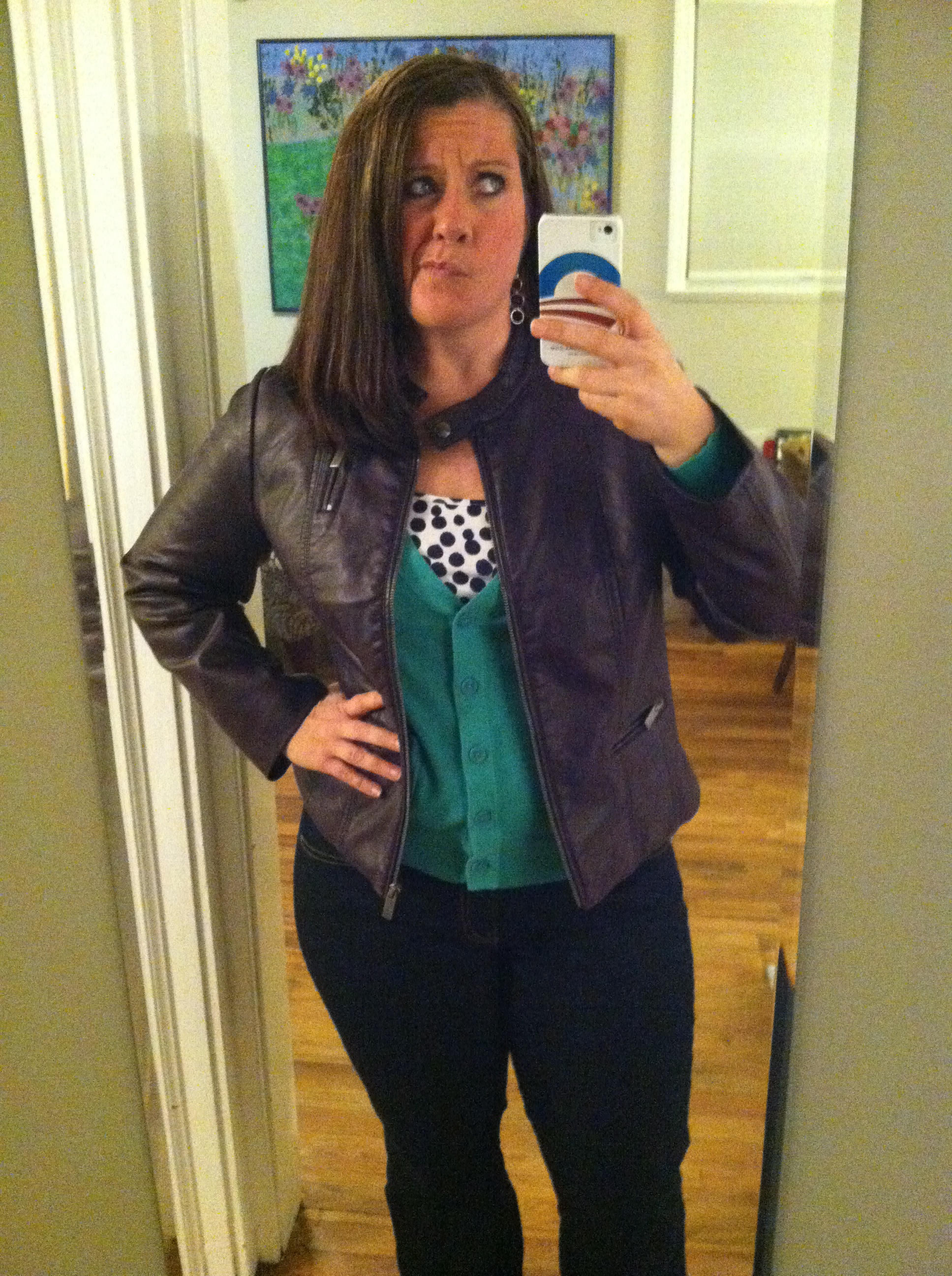 Dark jeans, patterned camisole, turquoise cardigan, and purple pleather jacket. Not pictured: short boots.
